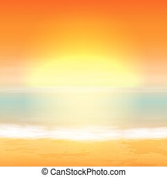 tropical, fondo., mar, sunset.