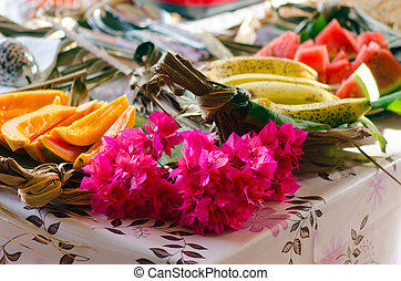 Tropical food in Aitutaki Lagoon Cook Islands