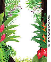 tropical forest background Vector Illustration Of