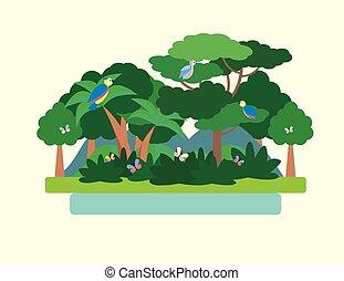 Tropical Forest Green Landscape. Vector illustration