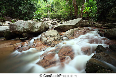 Tropical forest waterfall in Thailand