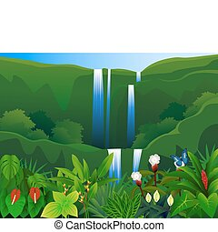 Tropical forest - waterfall in the tropical nature