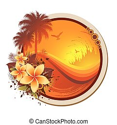Tropical Frame - An abstract tropical frame with seagulls, ...