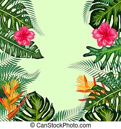 Tropical frame, flowers, monstera leaves, background, place for an inscription