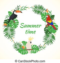 Tropical frame with exotic leaves and birds.