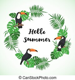 Tropical frame with exotic leaves and toucan bird.