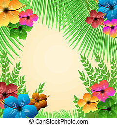 Tropical frame with palms and hibiscus flowers, vector ...