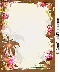 Tropical frame with palms