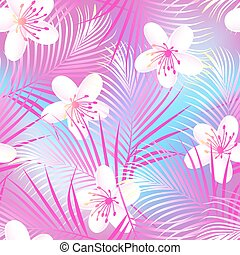 Tropical frangipani hibiscus with pink palms seamless...