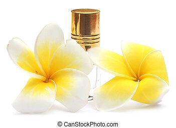 Tropical Frangipani with perfume bottle
