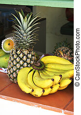 Tropical fruit - bananas, pineapple and melons