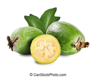 Tropical fruit feijoa (Acca sellowiana) isolated on white