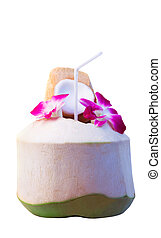 tropical fruit green coconut with beautiful purple orchid flower