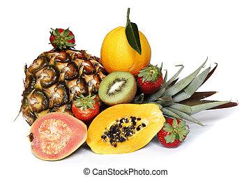 Healthy fruit assortment with guava papaya kiwi and orange