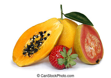 Tropical Fruit - Healthy fruit assortment with...