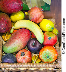 Tropical fruit in a basket
