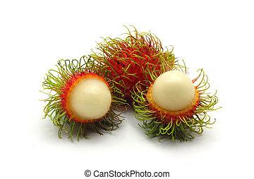 Tropical fruit, rambutan on white background