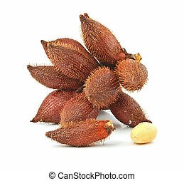 Tropical fruit : (Snake/ Salak/ Salacca/ Sala) on white...