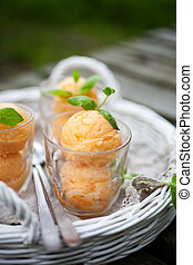 Tropical fruit sorbet - Homemade sorbet with tropical fruits...