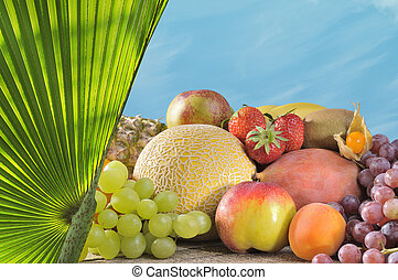 Tropical Fruit with Palm - Fresh fruit in the tropical look...