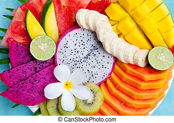 Tropical fruits assortment on a plate. Top view.