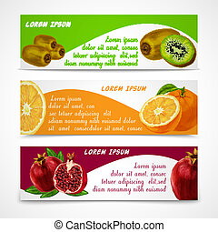Tropical fruits banner set - Natural organic tropical fruits...