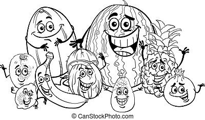 tropical fruits cartoon for coloring book