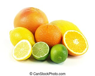 Tropical fruits, isolated - Citrus with oranges, grapefruit...