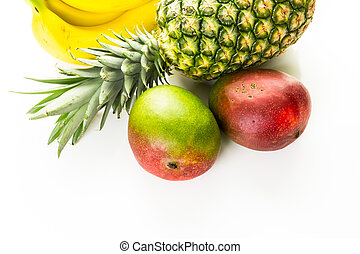 Tropical fruits - Organic tropical fruits on a white ...