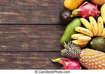 Tropical fruits, papaya, Dragon Fruit, rambutan, tamarind,...