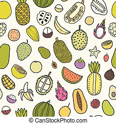 Tropical fruits seamless pattern. Vector hand drawn...