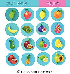 Tropical Fruits Set Colorful Icon Collection