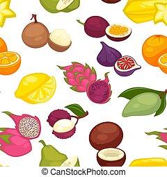 Tropical fruits set seamless pattern. Citrus lemon and ...