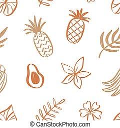 Tropical fruits summer seamless pattern