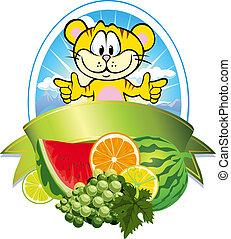 tropical frukt, etikett
