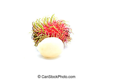 tropical frukt, rambutan, vita, bakgrund
