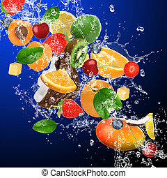 tropical frukter, in, vatten, plaska