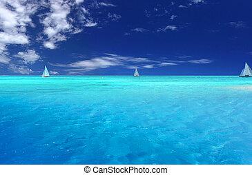 Tropical Fun - Boats sailing near tropical Motu