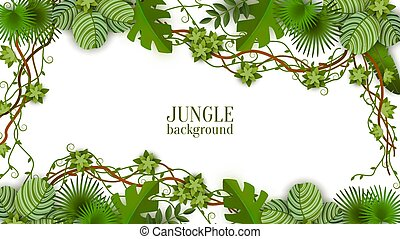 Tropical green background and frame with jungle, vines, exotic leaves and plants.