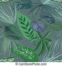 Tropical Green Background with Philodendron and Monstera Rainforest Plants, Nature Floral Wallpaper Print with Exotic Jungle Spathiphyllum Cannifolium Leaves, Seamless Ornament. Vector Illustration