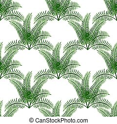 Tropical green palm leaves on a white background.