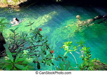 Tropical green waterfall pond at escambray, cuba