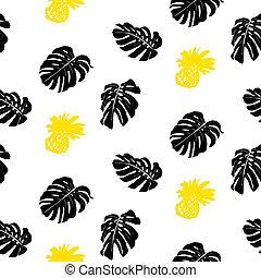 tropical, grunge, patrón, con, fruits, y, leafs