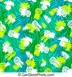 Tropical grunge pattern with fruits and leafs - Vector...