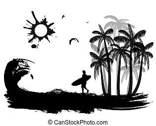 tropical, grunge, plano de fondo