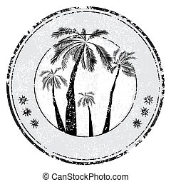 Tropical grunge rubber stamp with palm and space for your text on white, vector illustration - Vector