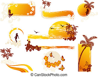Tropical grunge style elements - Set of tropical banners and...