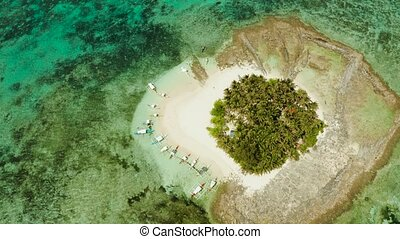 Tropical island with palm tree, beach with tourists and boats. Guyam island, Philippines, Siargao. Summer and travel vacation concept