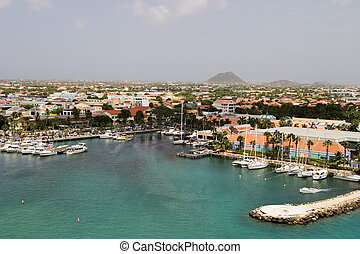 Tropical Harbor On Aruba - A view of the main harbor on ...