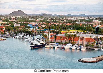 Tropical Harbor On Aruba, Oranjestad - A view of the main...